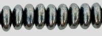Czech Pressed Glass Rondelle  6x2mm Hematite (50)