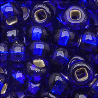 Czech Seed Beads 6/0 Cobalt Blue Silver Lined (1 ounce)