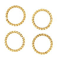 Gold Plated Twisted Open Jump Rings 10mm 16 Gauge (50)