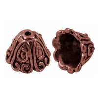 "Tibetan Style Large Red Copper Lead-Free ""Spiral"" Cone Bead Caps 15mm (x 4)"