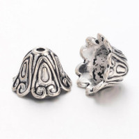 """Tibetan Style Large Antique Silver Plated Lead-Free """"Spiral"""" Cone Bead Caps 15mm (x 4)"""