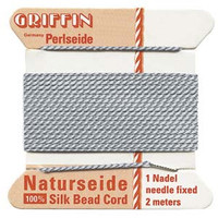 Griffin Silk Beading Cord & Needle Size 2 Grey