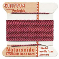 Griffin Silk Beading Cord & Needle Size 8 Garnet