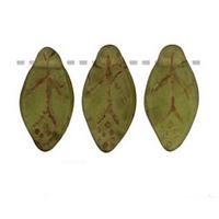 Czech Glass 7x12mm Leaf Bead, Matte Olivine Picasso (50)