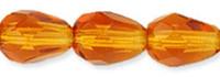 7x5mm Fire Polished Teardrop Glass Bead Dark Topaz (25)