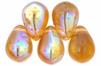 Czech Glass Beads 9mm Teardrop Amber Topaz AB (50)