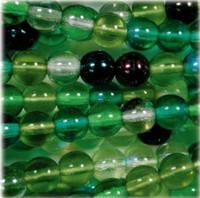 Czech Glass Druk 4mm Round Evergreen Mix (100)