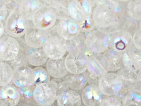 Czech Glass Druk 6mm Round Crackle Crystal Clear AB (50)