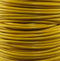 Genuine Leather Cord - 2mm - Round- Yellow