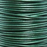Genuine Leather Cord - 2mm - Round- Metallic Ocean Green