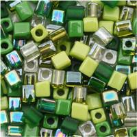 Miyuki 4mm Glass Cube Beads Evergreen Mix (20 Grams)