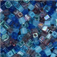 Miyuki 4mm Glass Cube Beads Caribbean Blue Mix