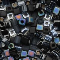 Miyuki 4mm Glass Cube Beads Black Medley Mix (20 Grams)