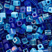 Miyuki 4mm Glass Cube Beads Blue Tones Mix (20 Grams)