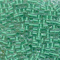 Miyuki 4mm Glass Cube Beads Color Lined Green (#219) (20 grams)
