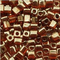 Miyuki 4mm Glass Cube Beads Gold Rose Luster (#310) (20 grams)