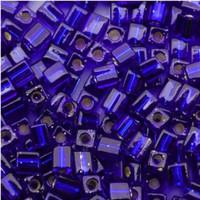 Miyuki 4mm Glass Cube Beads Cobalt Blue Silver Lined (#20) (20 Grams)