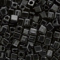 Miyuki 4mm Glass Cube Beads Black Opaque (#401) (20 grams)