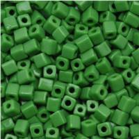Miyuki 4mm Glass Cube Beads Grass Green Opaque (#411) (20 grams)