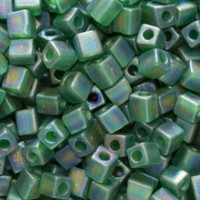 Miyuki 4mm Glass Cube Beads Transparent Frosted Green AB (#146FR) (20 grams)
