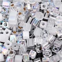Miyuki 4mm Glass Cube Beads Crystal Medley Mix (20 Grams)