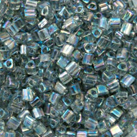 Size 11 Toho Triangle Beads, Transparent Gray AB (1 ounce)