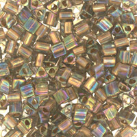 Size 8 Toho Triangle Beads, Gold Lined Black Diamond AB (1 ounce)
