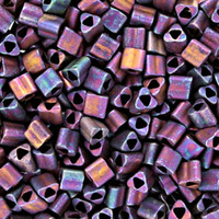 Size 8 Toho Triangle Beads, Frosted Metallic Iris Purple (1 ounce)