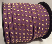 Faux Leather Suede Micro Fiber Cord with Gold Studs (5 Feet) Purple