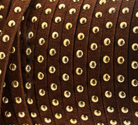 Faux Leather Suede Micro Fiber Cord with Gold Studs (5 Feet) Brown
