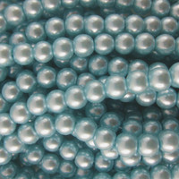 Glass Pearl Beads 75pcs 8mm - Baby Blue