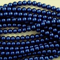 Glass Pearl Beads  8mm - Royal Montana Blue 75pcs