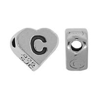 "Sterling Silver 7x6mm Alphabet Heart Bead Letter ""C"""