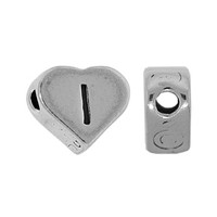 "Sterling Silver 7x6mm Alphabet Heart Bead Letter ""I"""