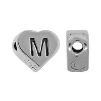 "Sterling Silver 7x6mm Alphabet Heart Bead Letter ""M"""