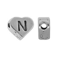 "Sterling Silver 7x6mm Alphabet Heart Bead Letter ""N"""