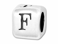 """Sterling Silver Alphabet 4.5mm Rounded Edge Cube Bead Letter """"F"""""""