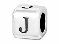"""Sterling Silver Alphabet 4.5mm Rounded Edge Cube Bead Letter """"J"""""""