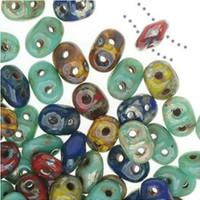 SuperDuo, Czech Glass 2-Hole Seed Beads 5.5x3.5mm, Raku Mix, 22 Grams,