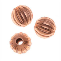 Copper Plated Corrugated Round Beads 4mm (100)