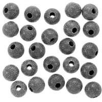 Gun Metal Plated Stardust Sparkle Round Beads 8mm (25)