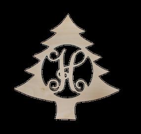 18 in Christmas Tree Wood Monogram