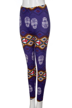 SUGAR SKULL PURPLE PRINT SOFT LEGGINGS
