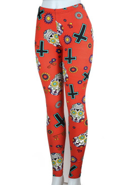 Sugar Skull Orange Brushed leggings