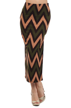 Chevron Print Maxi Skirt with Side Slit - Olive