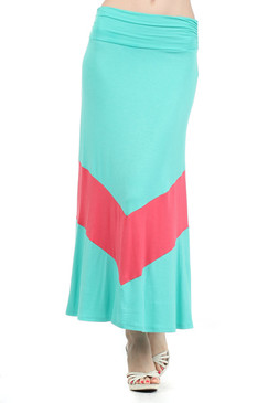 Colorblock Full Length Skirt with Banded Waist