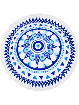 DOILY PATTERN  ROUND BEACH TOWEL MAT-ROYAL BLUE