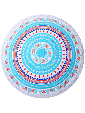 TRIBAL PATTERN  ROUND BEACH TOWEL MAT-RED MULTI COLOR