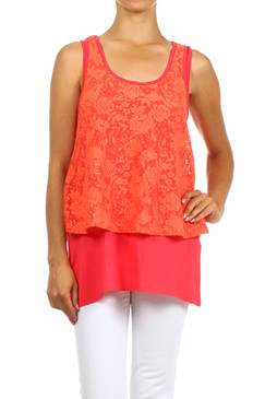 PS Plus Duo Fabric Layered Lace Tunic with Racer Back - Coral