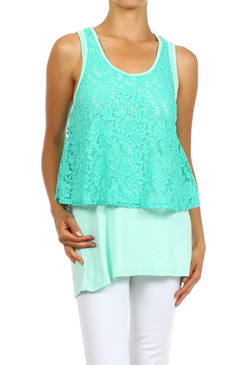 PS Plus Duo Fabric Layered Lace Tunic with Racer Back - Mint
